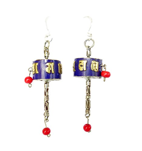 Fashion Tibetan prayer wheel blue lapis lazuli gemstone chip inlay dangle drop earrings for women buddhist bohemian earrings ethnic tribal handmade gypsy fashion earrings
