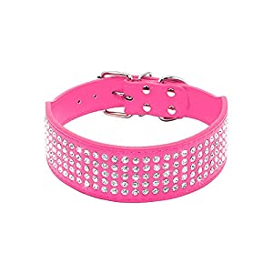 "Beirui Rhinestones Dog Collars - 2"" Width with 5 Rows Full Sparkly Crystal Diamonds Studded PU Leather - 2 Inch Wide -Beautiful Bling Pet Appearance for Medium & Large Dogs,19-22"",Hot Pink"