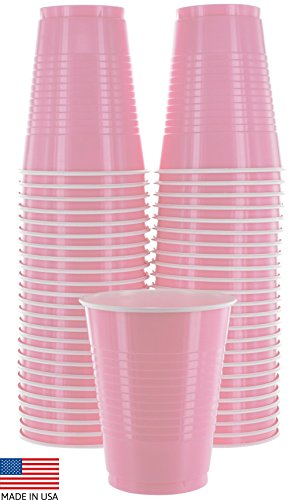 Amcrate Pink Colored 16-Ounce Disposable Plastic Party Cups - Ideal for Weddings, Party?s, Birthdays, Dinners, Lunch?s. (Pack of 50)