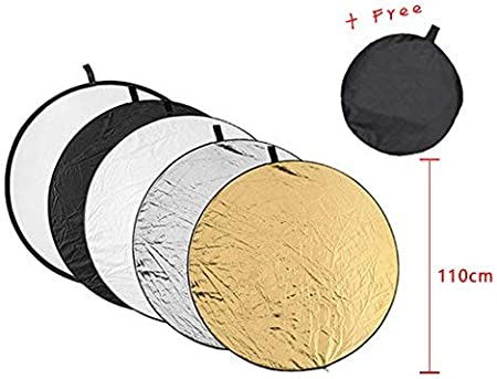 SZZWY 43-inch Translucent White Silver Gold and Black 110cm 5-in-1 Collapsible Multi-Disc Light Reflector with Bag