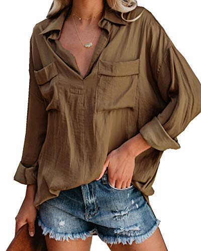 Ofenbuy Womens Casual V Neck Long Sleeve Oversized Boyfriend Shirts Blouse Summer Tops with 2 Pockets Brown ()