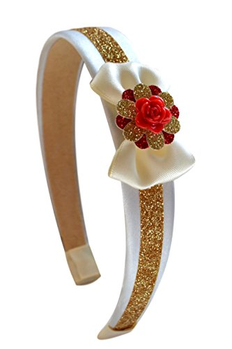 Beauty and the Beast Belle Headband with Mini Satin Bow and Red Rose Center By Funny Girl Designs