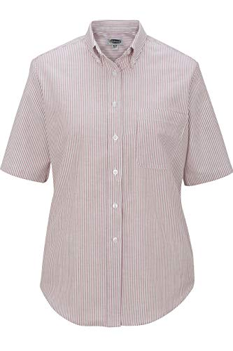 Edwards Ladies' Short Sleeve Oxford Shirt Medium Burgundy Stripe ()
