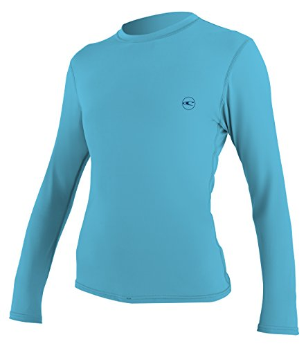 O'Neill Women's Basic Skins UPF 30 + Long Sleeve Sun Shirt, Turquoise, Medium