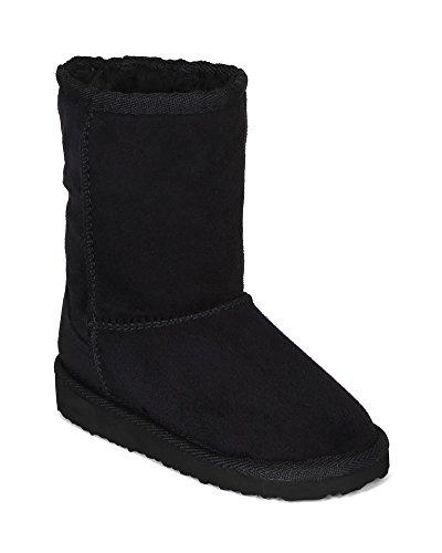 Soda BG98 Suede Round Toe Fur Shearing Flatform Eskimo Boot (Toddler/ Little Girl/ Big Girl) - Black (Size: Little Kid (Eskimo Outfit)