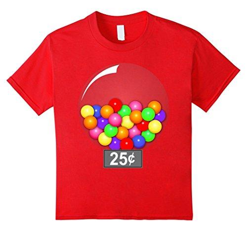 Gumball Machine Costume Child (Kids Gumball Machine Quarter Couples Halloween Costume T-Shirt 6 Red)