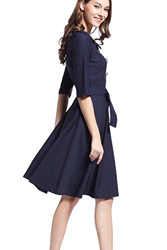 Élégantes manches courtes Swing Party Dress des femmes avec ceinture