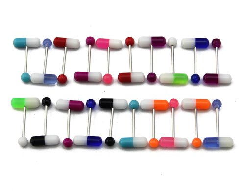 Pill Barbell (BODYA Lot of 20 Assorted Colorful Pills Tongue Ring 14G Piercing Barbells)