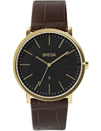 Men's 'Breuer' 1732b Gold and Brown Croc Leather Strap Watch, 39MM
