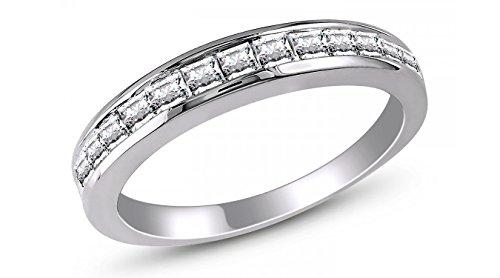 Georgia II Anniversary Band 925 Sterling Silver Ring Princess Cut- Ginger Lyne (Princess Cut Cocktail Ring)