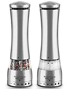 Electric Salt & Pepper Grinder Set By Beyond Flavor |Complimentary Mill Rest |Pack Of 2| LED Light| Automatic Battery Operated Salt and pepper mill |Adjustable Coarseness| Bonus: Recipe E-Book