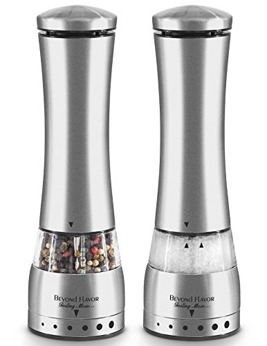 Electric Salt & Pepper Grinder Set By Beyond Flavor |Complimentary Mill Rest |Pack Of 2| LED Light| Automatic Battery Operated Salt and pepper mill |Adjustable Coarseness| Bonus: Recipe E-Book ()