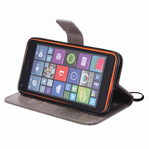Yiizy Microsoft Lumia 640 LTE Custodia Cover, Sole Petali Design Sottile Flip Portafoglio PU Pelle Cuoio Copertura Shell Case Slot Schede Cavalletto Stile Libro Bumper Protettivo Borsa (Grigio)