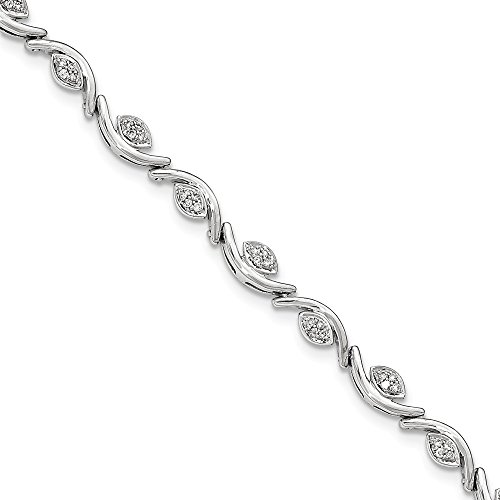 14k White Gold Diamond Wave Bracelet 7inch (0.475ct, H/SI2) (Gold Bracelet White Wave)
