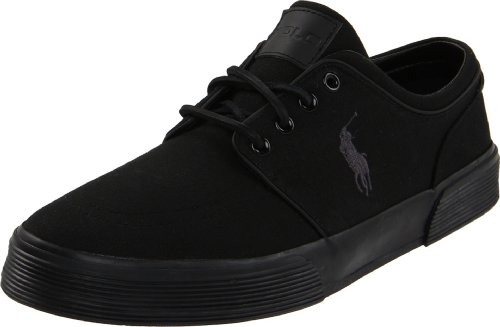 Polo Ralph Lauren Men's Faxon Low Sneaker, Black/Black/Black, 10.5 D US