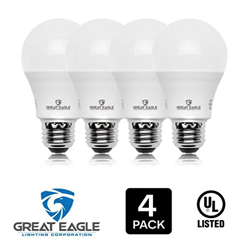 Great Eagle 100W Equivalent LED Light Bulb 1600 Lumens A19 3000K Bright White Non-Dimmable 14-Watt UL Listed (4-pack) (Light Super White Bulbs)