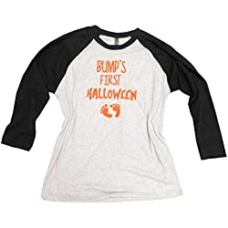 SGC Bump's First Halloween Baseball Shirt Tee Pregnancy Announcement (Large, White with Black Sleeves)