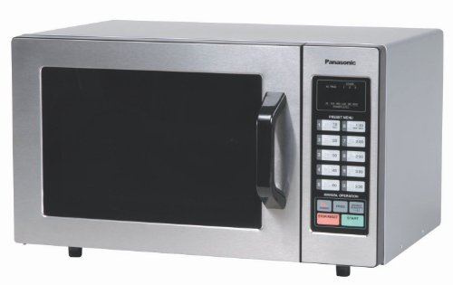 Panasonic NE-1054F Countertop Commercial Microwave Oven with 10 Programmable Memory, Touch Screen Control and Bottom Energy Feed, 1000W, 0.8 Cu. Ft. (Stainless Steel), 5""