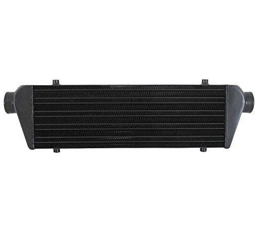 AJP Distributors Universal FMIC Front Mount Intercooler 27.5 X 7 x 2.375 Tube And Fin 2.5 Inlet Outet Performance High Flow Light Weight Aluminum Racing Black
