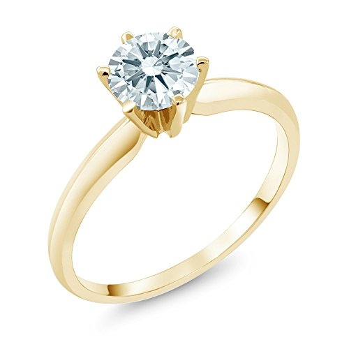 Real Solitaire - 0.84 Ct White 14K Yellow Gold Engagement Solitaire Ring Made With Swarovski Zirconia (Size 6)