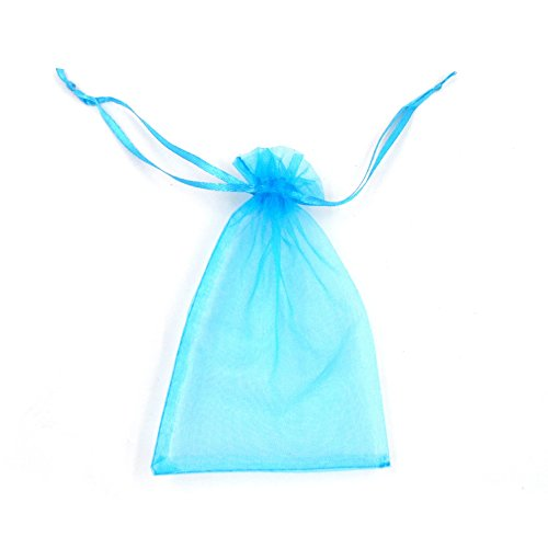ATCG 200pcs 3x4 Inches Sheer Organza Drawstring Pouches Wedding Party Jewelry Favor Present Jewelry Candy Bags (Aqua Blue)