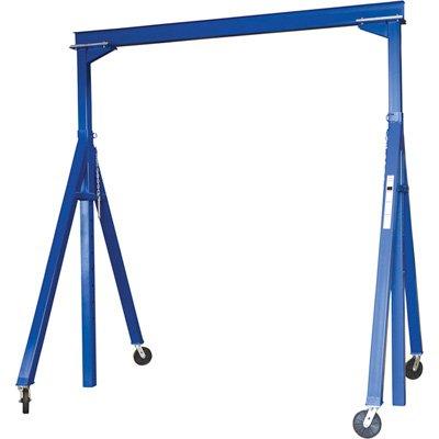 Vestil AHS-6-10-14 Steel Adjustable Height Gantry Crane, 6000 lbs Capacity, 10' Length x 8'' Height Beam, 103''-169'' Usable Height by Vestil