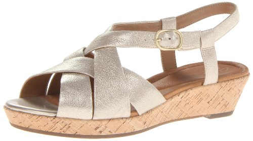Clarks Womens Orlena Chutney Wedge Sandal Gold