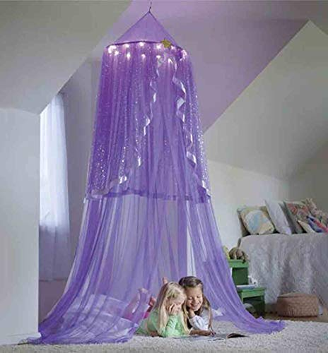 (SANGNI Baby Kids Children Mosquito Net Protector,Bed Canopy Net for Playing Reading,Practical Round Dome Castle Tent Decor for Bedroom Living Room House Nursery,Hanging Netting Curtains (Purple))