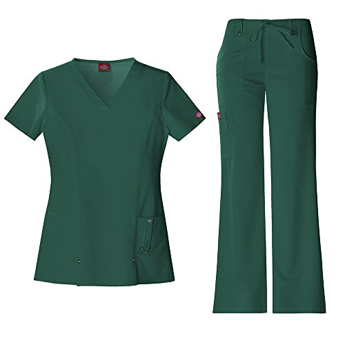 Dickies Xtreme Stretch Women's 82851 V-Neck Top & 82011 Drawstring Pant Medical Uniform Scrub Set (Hunter - Medium)