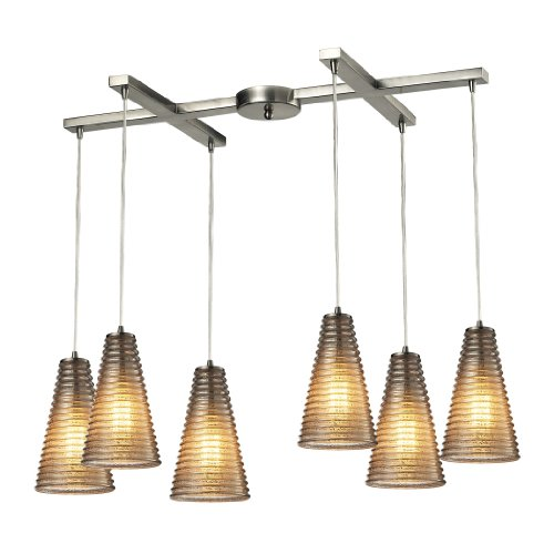 Elk Lighting 10333/6 Ribbed Glass Collection 6 Light Chandelier, Satin Nickel