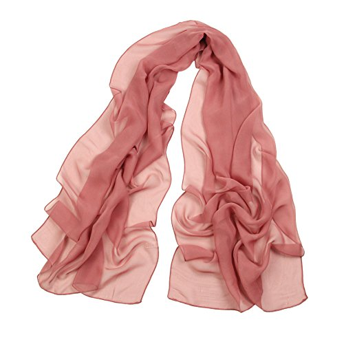 (Long Chiffon Sheer Scarf For womens - PANTONIGHT FL001 2018 New Design for All Seasons Shaded Color Lightweight (dark pink S))