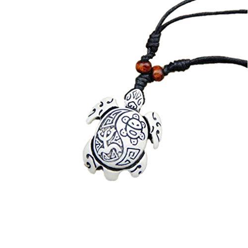 TraveT Rope Pendant Necklace for Men Women Sea Turtle Necklace Yin Yang Pendant Necklace Adjustable,White Style1