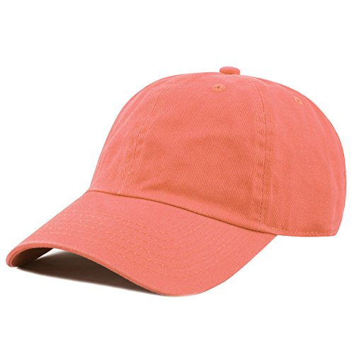 The Hat Depot Unisex Blank Washed Low Profile Cotton and Denim Baseball Cap Hat (Coral) ()