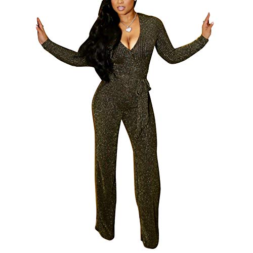 (Kumono Womens Sparkly V Neck Long Sleeve Party Clubwear Bodycon Jumpsuit Romper Pants Gold)