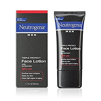 Neutrogena Triple Protect Face Lotion - Neutrogena Triple Protect Men's Daily Face Lotion with Broad Spectrum SPF 20 Sunscreen, Moisturizer to Fight Aging Signs, Soothe Razor Irritation & Relieve Dry Skin, 1.7 fl. oz (Pack of 3)