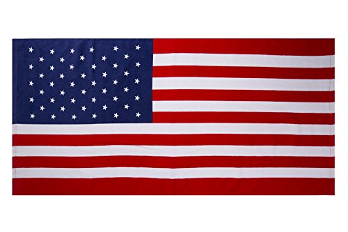 Jml Beach Towel, Printed Cotton Beach Towel, Fast Drying, Ultra Soft, Extra Absorbent and Oversized (28x58 inches). Perfect for Beach, Camping, Gym and Swimming.(American Flag) ()