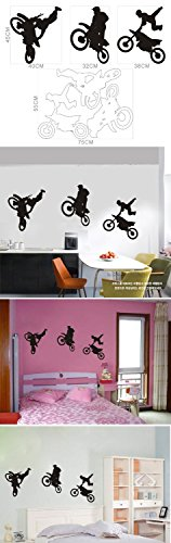 Motor Cross Three Motor Cycles Doing Tricks Wall Decal Stencil for Boys Are Girls Bed Room Wall Free Gift with Every Order (Cross Three Motor)
