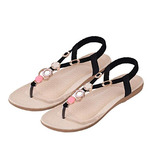 Calzado de mujer,Amlaiworld Bohemia dulces moldeados de las sandalias de las sandalias del dedo del pie del clip Negro