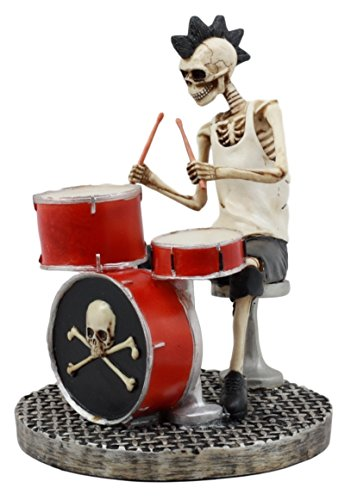Ebros Gift Day Of The Dead Punk Skeleton Rock Drummer Figurine 6.75