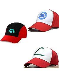 Ash Ketchum Adult Hat 3 Caps a Set Cosplay Accessory