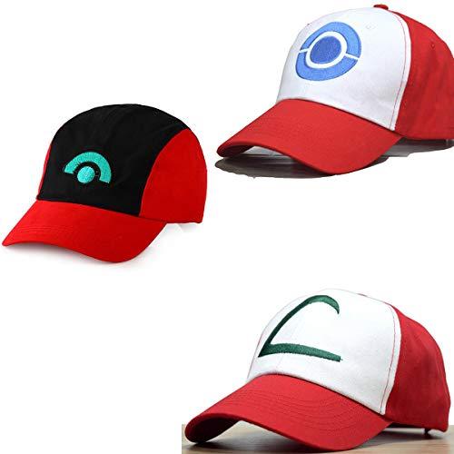 Ash Ketchum Adult Hat 3 Caps a Set