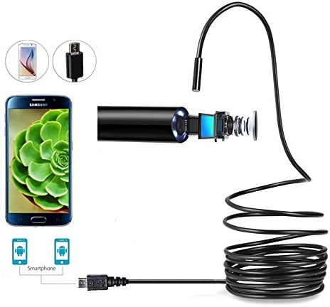 Basumone 1080P 2 IN 1 6LED Micro USB HD waterproof Endoscope IP67 Inspection Camera Tube compatible for Android 2M TE1286