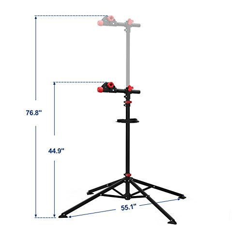 SONGMICS Pro Mechanic Bike Repair Stand with Tool Tray Telescopic Bicycle Maintenance Rack Workstand Lightweight and Portable USBR02B by SONGMICS (Image #2)