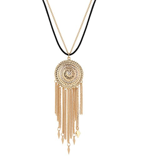 MOLOCH Necklaces For Woman Boho Long Tassel Fringe Necklace Charm Cubic Zirconia Disk Circle Pendant Necklace Set Jewelry Necklace (gold)