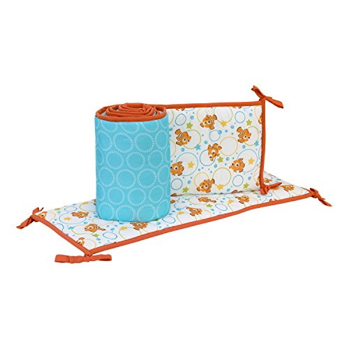 Dimensions Baby Crib - Disney Finding Nemo A Day at Sea 4 Piece Nursery Crib Bumper, Blue/Orange/Green/Yellow