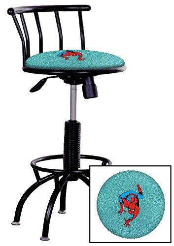 1 - 24'-29' Adjustable Height Black Metal Finish Swivel Seat Bar Stool Featuring a Spiderman Comic Book Hero Theme on a Aqua Glitter Vinyl Covered Seat Cushion