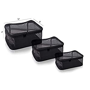SHANY 3 Piece Assorted Size Cosmetics See Through Make Up Bag/Organizer, Black Mesh