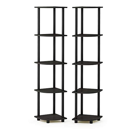 Furinno 2-99811EX/BK Turn-N-Tube 5-Tier Corner Multipurpose Display Shelves, Set of 2 - Multi Purpose Display