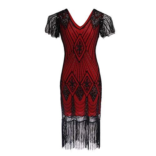 Flapper Flecos V Mujeres Década Prom A Cóctel Retro l Cuello b Noche Vestido Dress 1920 Vestidos Luckgxy Las De xq78wnIB