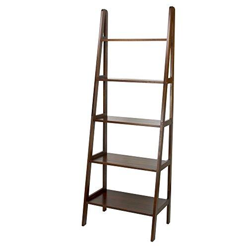 Bookcase Dimensions - Casual Home 176-54 5-Shelf Ladder Bookcase, Warm Brown